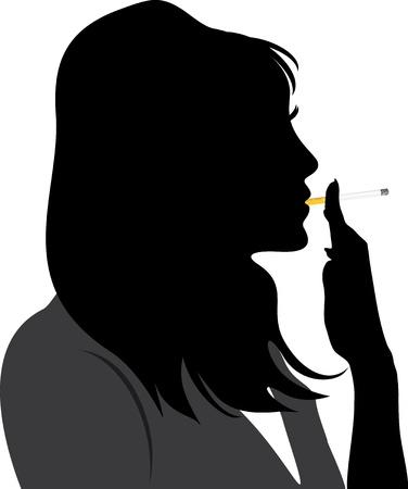 bad habits: Silhouette of smoking woman Illustration