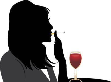 women smoking: Silueta de mujer de fumar con vaso de vino tinto
