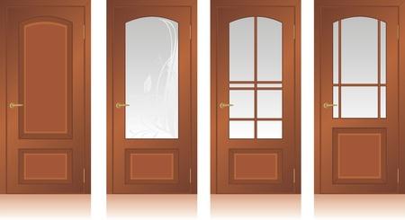 Collection of wooden doors Vector