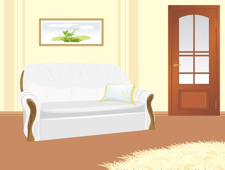 Sofa with pillow. Fragment of living room Stock Vector - 9585324