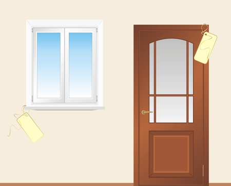 Window and wooden door Vector