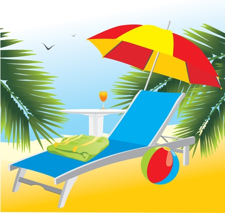 deckchair: Empty deckchair under an umbrella