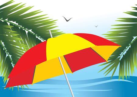 Beach umbrella among the branches of palm Stock Vector - 9628742