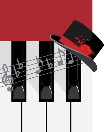 Piano keys and female hat Vector