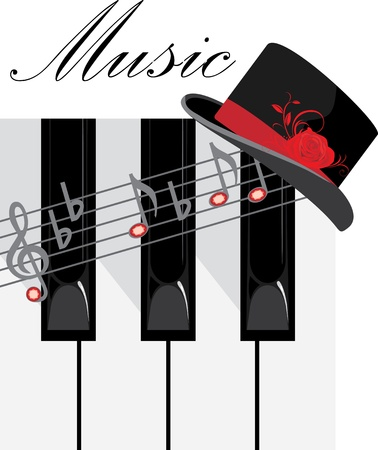 synthesizer: Piano keys and female hat. Composition for design
