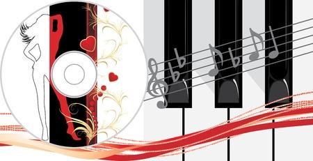 Piano keys and compact disk Vector