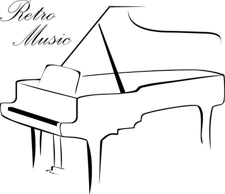 piano: Silhouet van piano geïsoleerd op de witte Stock Illustratie