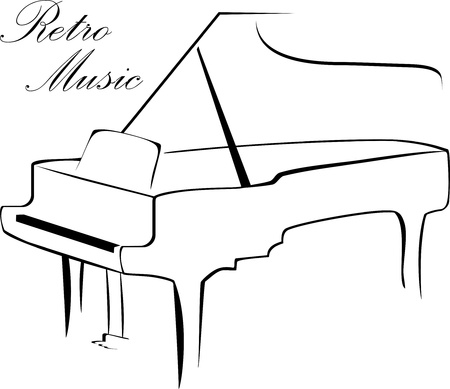 Silhouette of piano isolated on the white