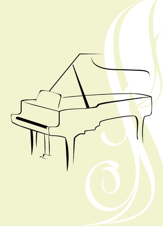 Silhouette of piano on the decorative background Stock Vector - 9666638