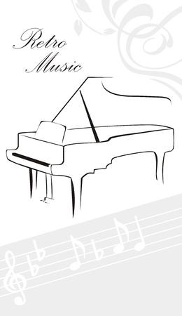piano: Silhouet van piano en notities Stock Illustratie
