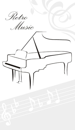 Silhouette of piano and notes Vector