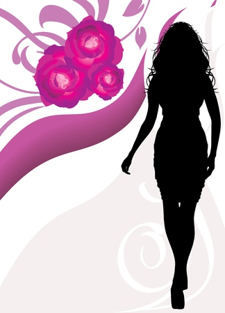 Female silhouette on the floral background Stock Vector - 9666641