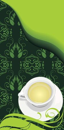 Tea cup on the floral background Vector