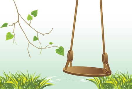 riverside trees: Swing on the riverside Illustration