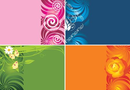 Four decorative backgrounds for cards Stock Vector - 9666654