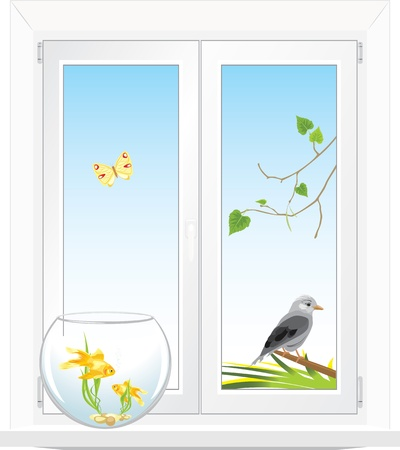 Window with a kind in a garden Vector