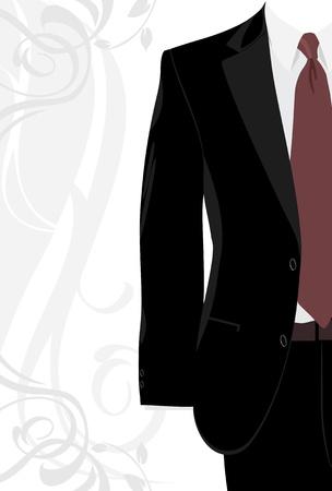 traje: Traje masculino en el fondo decorativo Vectores
