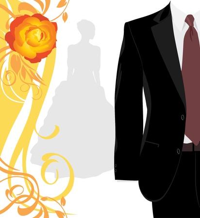 dressy: Traje masculino y la silueta de la novia en el fondo decorativo