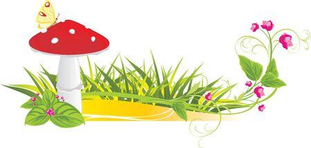 hongo: Flores y hongo agárico fly