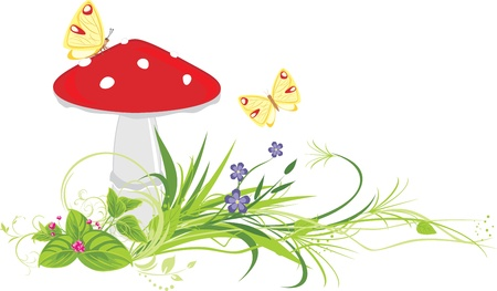 a toadstool: Fly agaric mushroom, flowers and butterflies