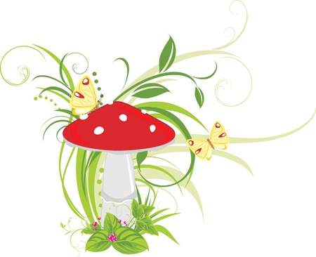 toadstool: Fly agaric mushroom and butterflies