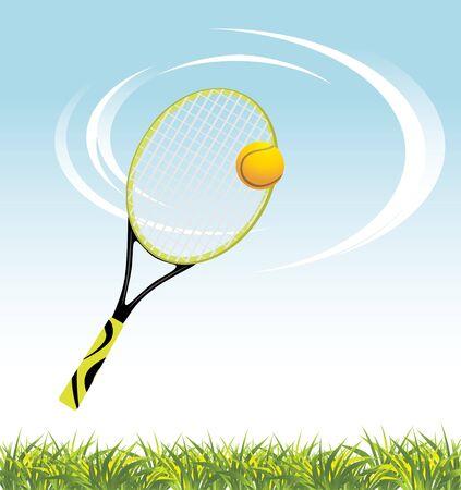 Tennis racket with ball above a grass