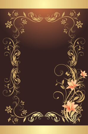 Frame with lilies. Pattern for design of decorative background Иллюстрация