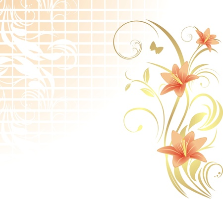 Frame with lilies. Pattern for design Illustration