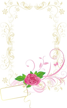 Frame with rose and card. Pattern for design Vector