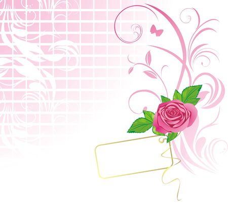 decorative item: Pink rose with card. Pattern for design