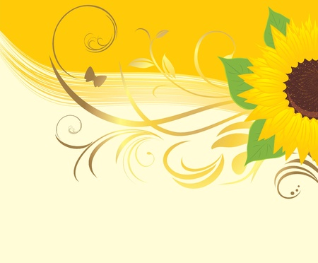 Sunflower with floral ornament on the yellow background Vector