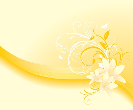 Floral ornament with lilies on the yellow background