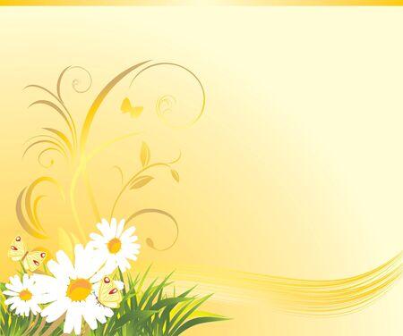 Hierba con chamomiles y mariposas en el fondo amarillo Vectores