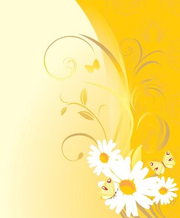 Adorno floral con chamomiles y mariposas en el fondo amarillo