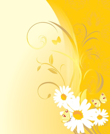 Floral ornament with chamomiles and butterflies on the yellow background