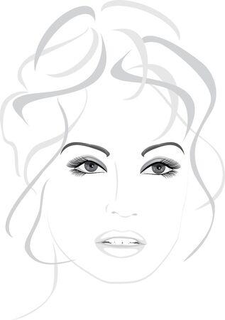 Retrato de mujer bella aislada en el blanco