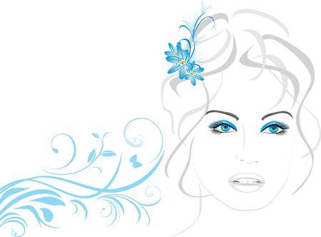 Retrato de una mujer hermosa con flores en el cabello