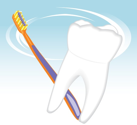 Tooth and toothbrush. Dental concept Stock Vector - 9867612
