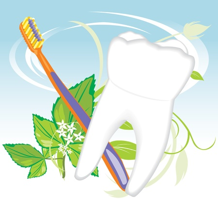 yellow teeth: Tooth, toothbrush and mint sprig Illustration