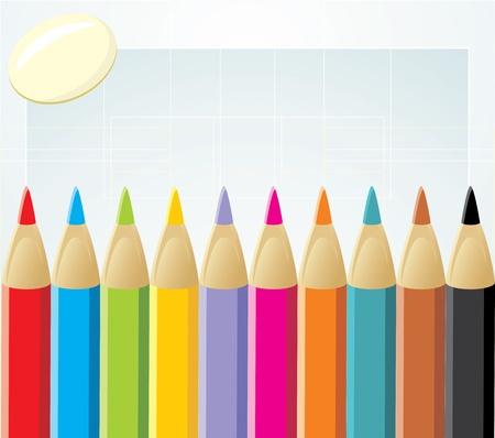 elastic: Colorful pencils and elastic