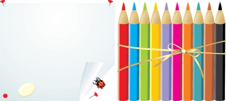 elastic: Colorful pencils on the convoluted paper with elastic and ladybird
