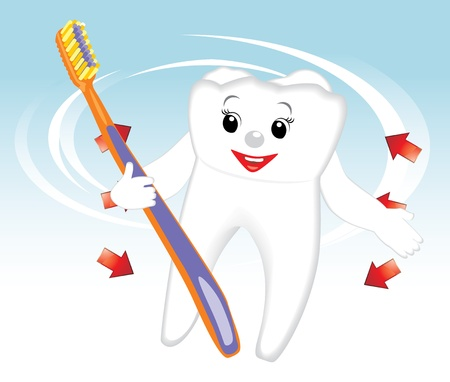 Smiling tooth and toothbrush. Cartoon Vector