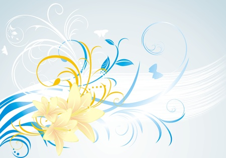 Floral ornament with lilies on the blue background Stock Vector - 9867621