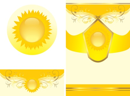 Floral ornament with sun. Decorative elements for design Vector