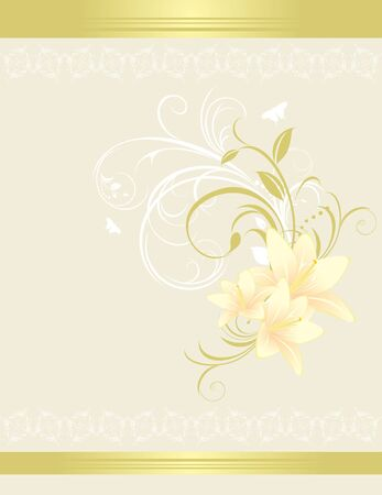 Lilies with floral ornament. Card Stock Vector - 9867577