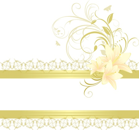 Border with lilies and floral ornament Vector