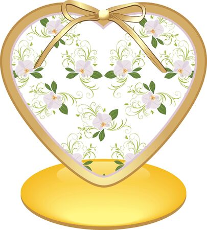 Glass heart with orchids Vector