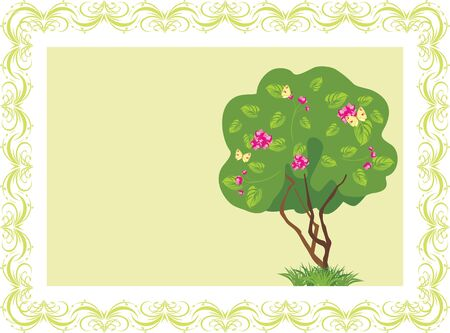 Stylized flowering tree with butterflies in the frame Stock Vector - 9932766