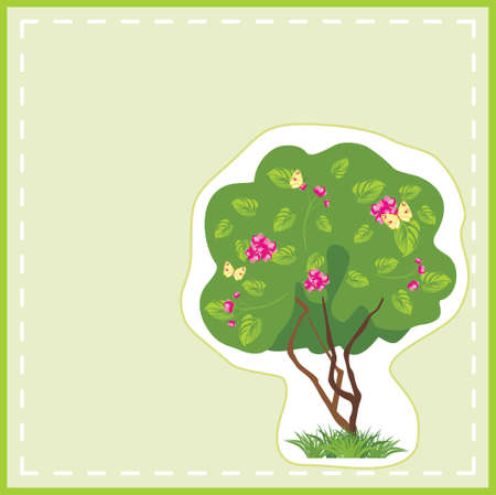 Stylized flowering tree with butterflies in the frame. Card Vector