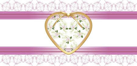 decorative item: Heart with orchids on the floral borders